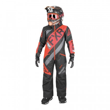 FXR CX Fôret Monosuit Youth Sort/Nuke Rød/Char